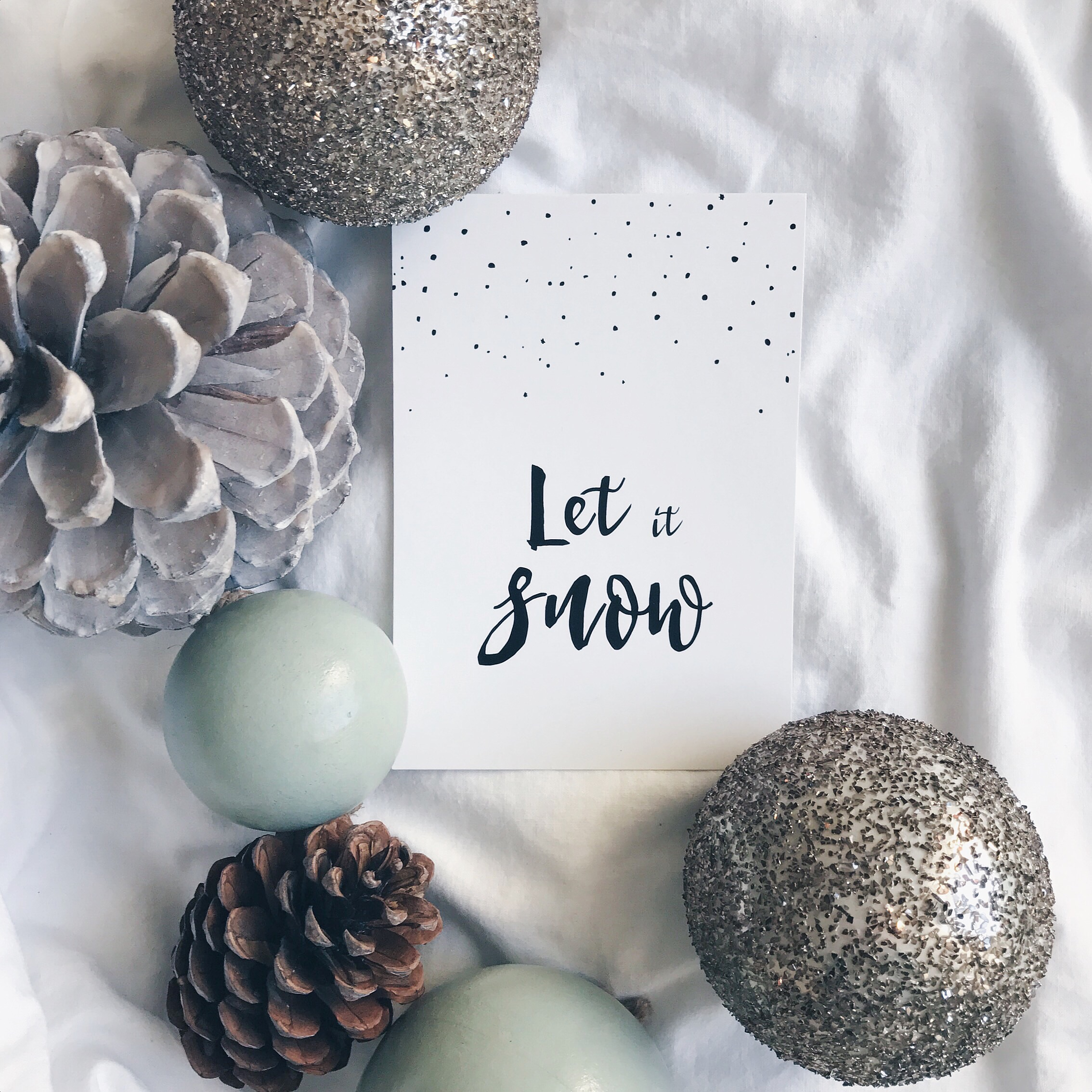 Let it snow Projekt Stil Postkarte Poster Print Adventskalender